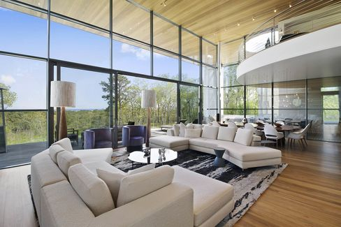 The double-height living room.