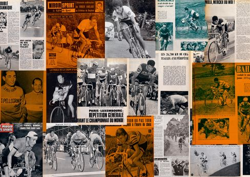 """A spread from """"The Heroes"""" chapter of Paul Smith's Cycling Scrapbook."""