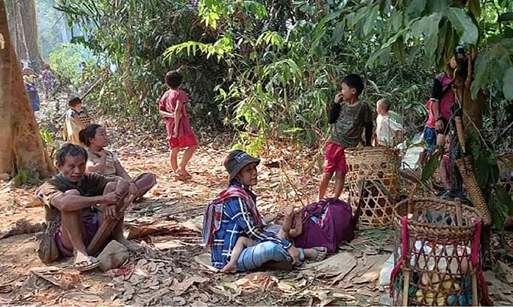 Karen villagers gather in the forests as they hide from military airstrikes in the Deh Bu Noh area, March 28.