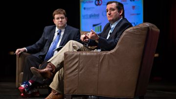 Texas Senator Ted Cruz (right) speaks during the Family Leadership Summit in Ames, Iowa, on July 18, 2015.