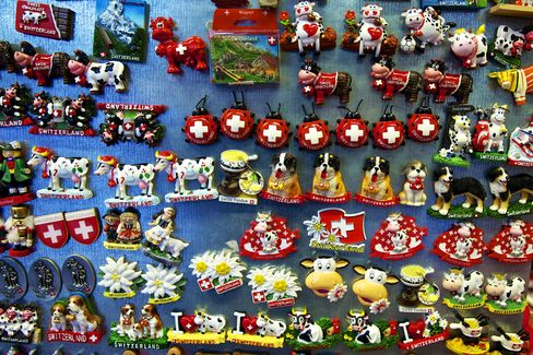 Swiss Souvenirs Sit On Display In A Store