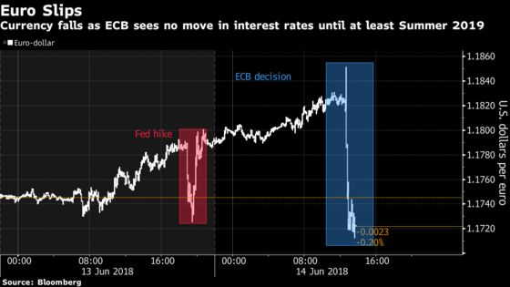 Euro Falls as ECB Signals Rates to Be Frozen Through Summer 2019
