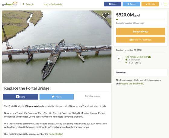 It's Come to This: GoFundMe Campaign for N.J. Portal Bridge