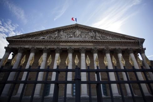 French National Flag Flies Above the National Assembly Building