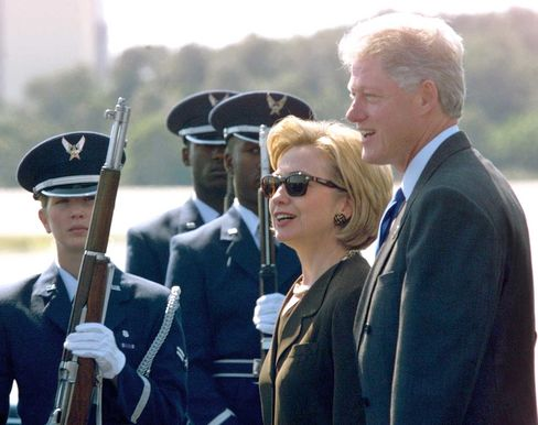 Then-first lady Hillary Clinton visits the Kennedy Space Center with her husband, President Bill Clinton, in 1998.