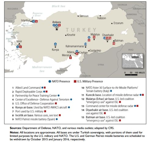 Map of U.S. and NATO Military Presence in Turkey.