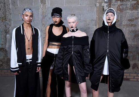 Models pose backstage at the Fenty Puma by Rihanna Collection during Fall 2016 New York Fashion Week on February 12, 2016 in New York City.