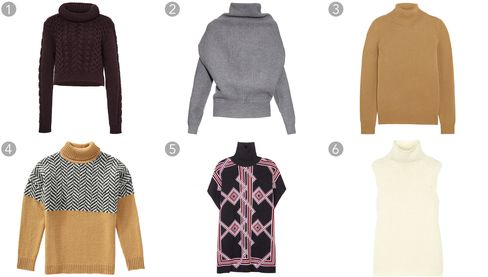 (1) Burgundy wool blend cable knit pullover, Tibi, $525, modaoperandi.com; (2) Jacy high-neck sweater, Acne Studios, $483, matchesfashion.com; (3) Iconic cashmere sweater, Chloe, $995, net-a-porter.com; (4) Zigzag sweater, $49, joefresh.com; (5) Printed wool turtleneck sweater, Kenzo, $677, mytheresa.com; (6) Vandrona alpaca-blend turtleneck sweater, Theory, $375, net-a-porter.com.