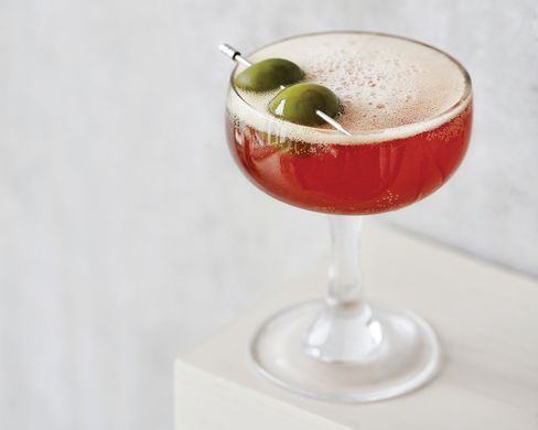 The Safe Passage is a delicious variation on the spritz, briny with Castelvetrano olive juice.