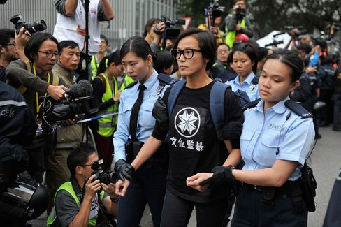 Denise Ho during the clearance of Occupy Central movement in December 2014.