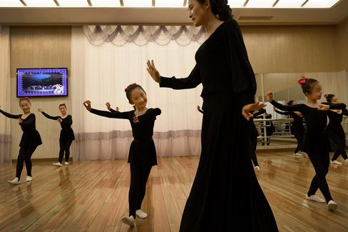 Young dancers at the Mangyongdae Children's Palace.