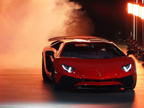 The new Lamborghini Aventador LP 750-4 Superveloce is seen during a press briefing ahead of the opening day of Auto Shanghai 2015.