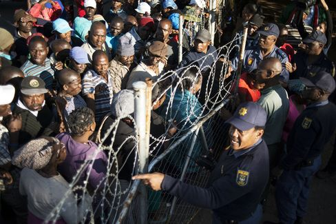 Striking Mineworkers Queue For Food Parcels