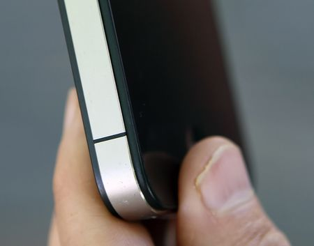 Detail of the iPhone 4, showing the gap that caused antenna issues for some users.