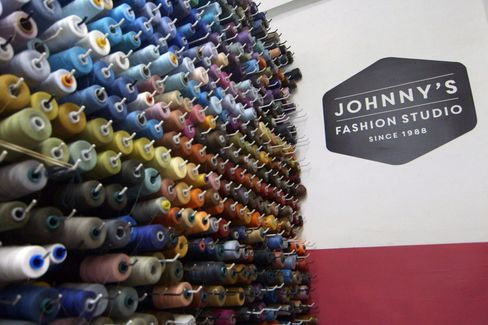 The entrance to Johnny's Fashion Studio in the New York City Garment District.