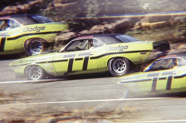 UNITED STATES - OCTOBER 04: 1970 Mission Bell 250 Race - Riverside - Trans-Am. Sam Posey driving his Dodge Challenger. (Photo by The Enthusiast Network/Getty Images)