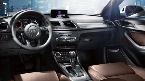 The interior of the Audi Q3 is clean and modern.
