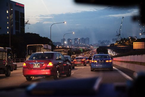 Evening peak traffic on the Central Expressway.