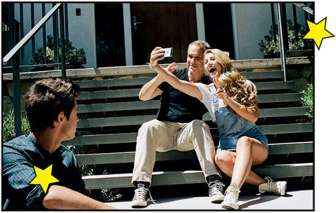 Robbins with AwesomenessTV talents Cameron Dallas and Lia Marie Johnson