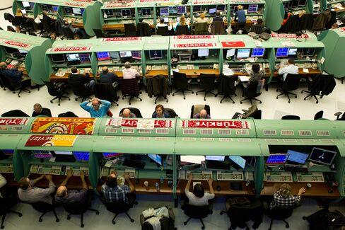 Traders Work Inside the Borsa Istanbul