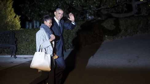 US President Barack Obama and his daughter Sasha walk to Marine One helicopter on the South Lawn of the White House December 19, 2014 in Washington, DC.