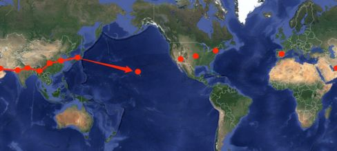 The round-the-world journey started in March. Phoenix will mark the halfway point.