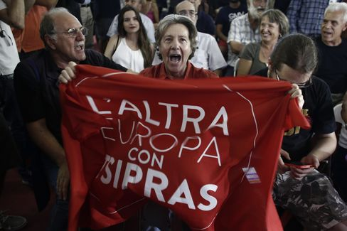 Supporters of the Syriza party.