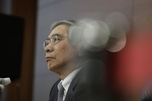 記者会見する黒田総裁