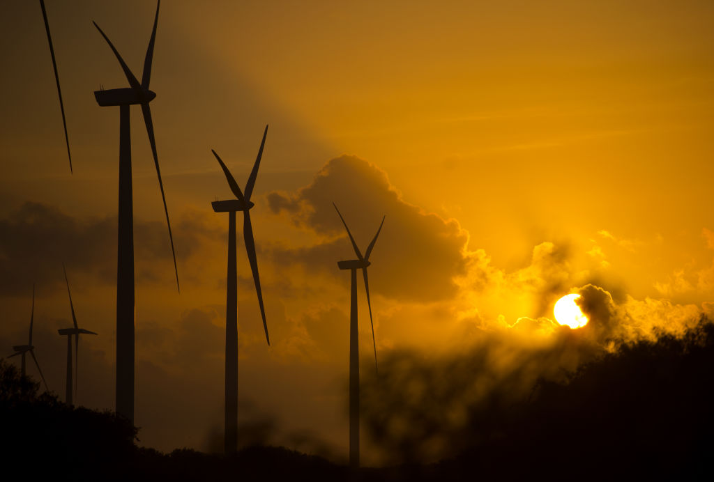 Wind turbines stand during sunrise.