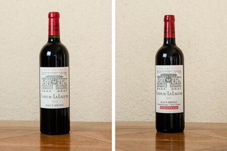 A bottle of 2010 and 2015 vintage Château La Lagune grand cru classé.