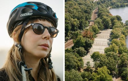 from left: Cyclist Jodi Sussman poses for a portrait while doing morning laps at Prospect Park. Shot at 1/500th, f/3.2, and 400iso., An aerial view from atop the George Washington Bridge. Shot at 1/750th, f/8, and 400iso.