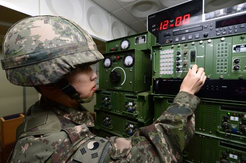 A South Korean soldier operates the loudspeakers on Jan 8