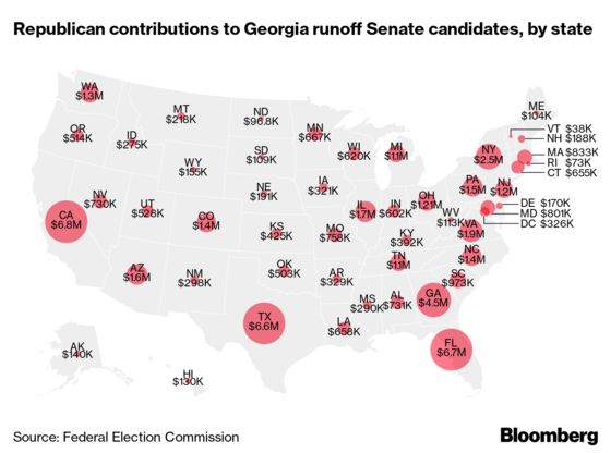 Georgia Senate Runoffs Fueled Mostly by Out-of-State Donors