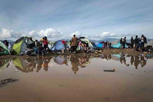The refugees camp on the Greek-Macedonian border in Idomeni
