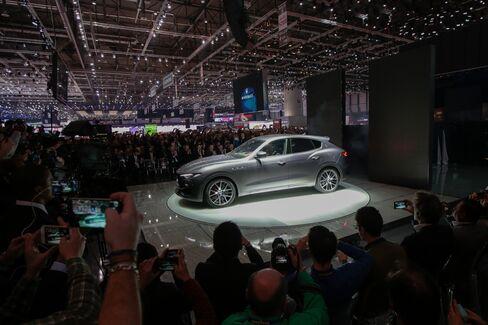 The Maserati Levante sits on display in Geneva