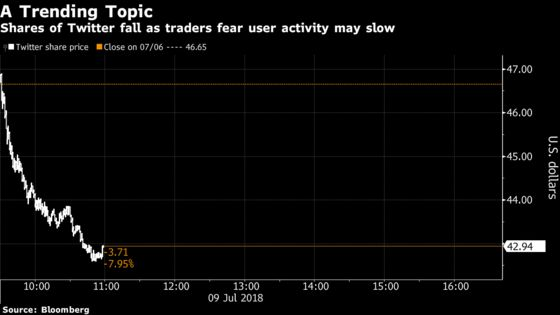 Twitter Plunges on Traders' Fear That User Activity May Slow
