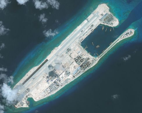 The nearly completed construction within the Fiery Cross Reef located in the South China Sea.