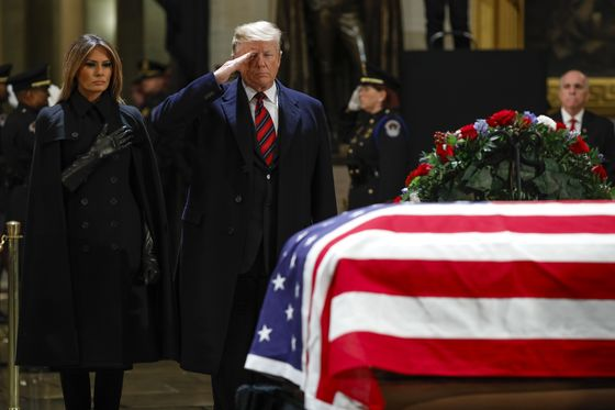 Trump Pays Tribute to George H.W. Bush at the U.S. Capitol