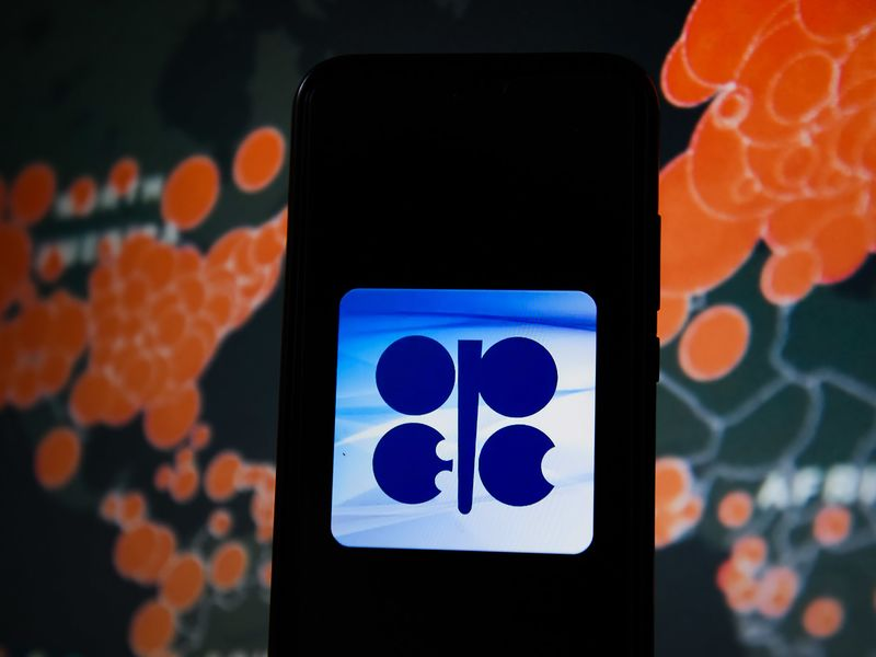 In this photo illustration an OPEC logo seen displayed on a