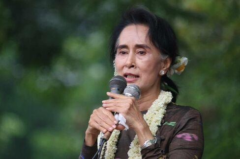 Myanmar opposition leader Aung San Suu Kyi in Yangon