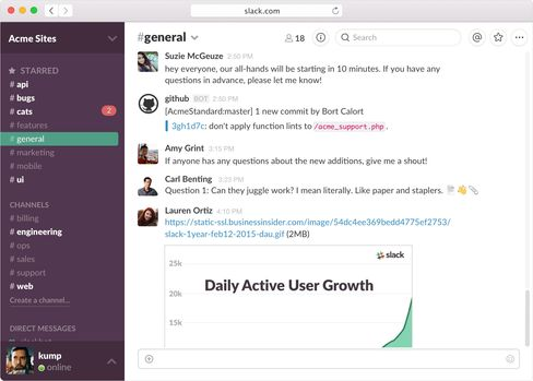This is what it looks like to chat with your co-workers on Slack