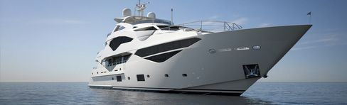 The $25 million Sunseeker 131 (named for its length) offers three decks, a cocktail lounge, separate dining area, and full galley, plus room for 12 in five bedrooms. It can reach up to 25 knots.