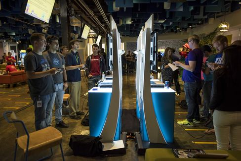 Attendees participate in a hackathon creating new levels for Super Mario Maker at the Facebook headquarters in Menlo Park, Calif., on July 29, 2015.