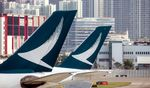 Tail fins of Cathay Pacific Airways.