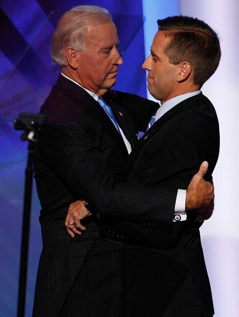 Joe Biden hugs his son, Delaware Attorney General Beau Biden, at the 2008 Democratic National Convention.