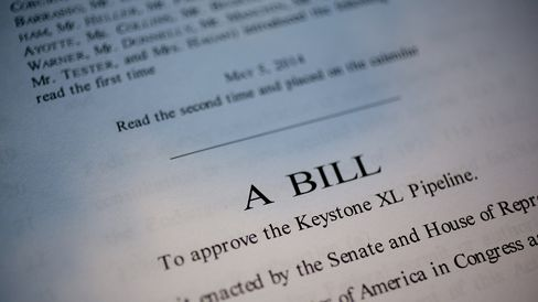 A copy of S. 2280, a bill that would approve the Keystone XL pipeline, is seen in Washington, D.C., on Nov. 17, 2014.