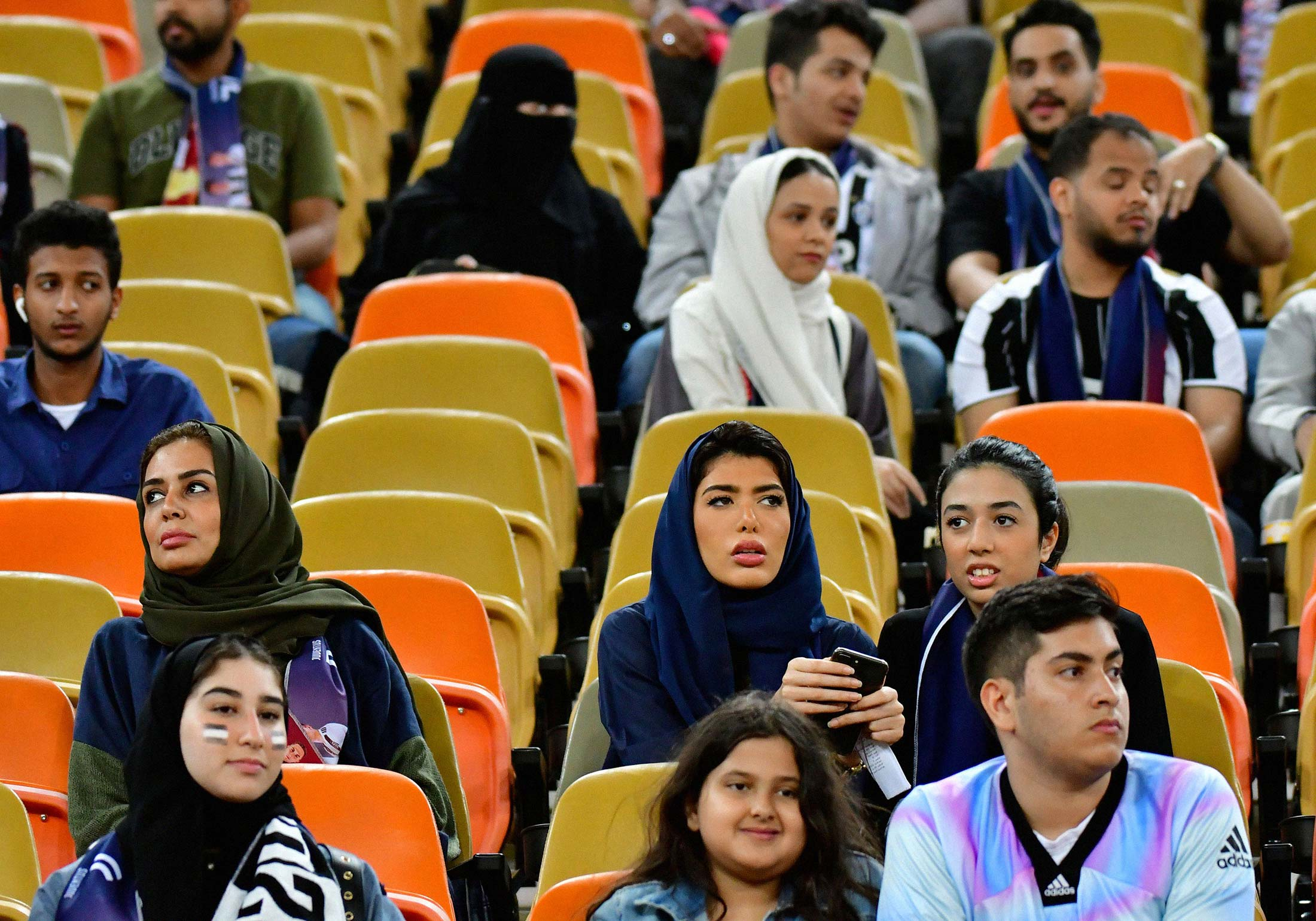 Fans in the stands ahead of the Supercoppa Italiana final between Juventus and AC Milan at the King Abdullah Sports City Stadium in Jeddah on Jan. 16.