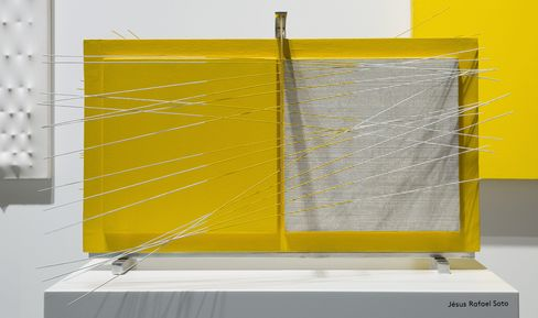 Jesús Rafael Soto, Untitled (double vibration in yellow) (1966). Painted wood, metal, and nylon strings.