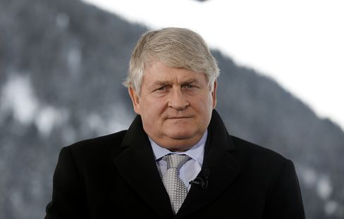 Denis O'Brien, chairman of Digicel Group Ltd, speaks during a television interview on day three of the World Economic Forum (WEF) in Davos, Switzerland, on Friday, Jan. 27, 2012.