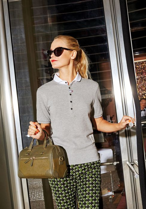 Textured piqué cotton was once used to wick sweat away during tennis. In a neutral, it plays nicely off this year's patterned pants. Orla Kiely trousers, $297; Benah for Karen Walker duffel, $501; Morgenthal Frederics sunglasses, $395.